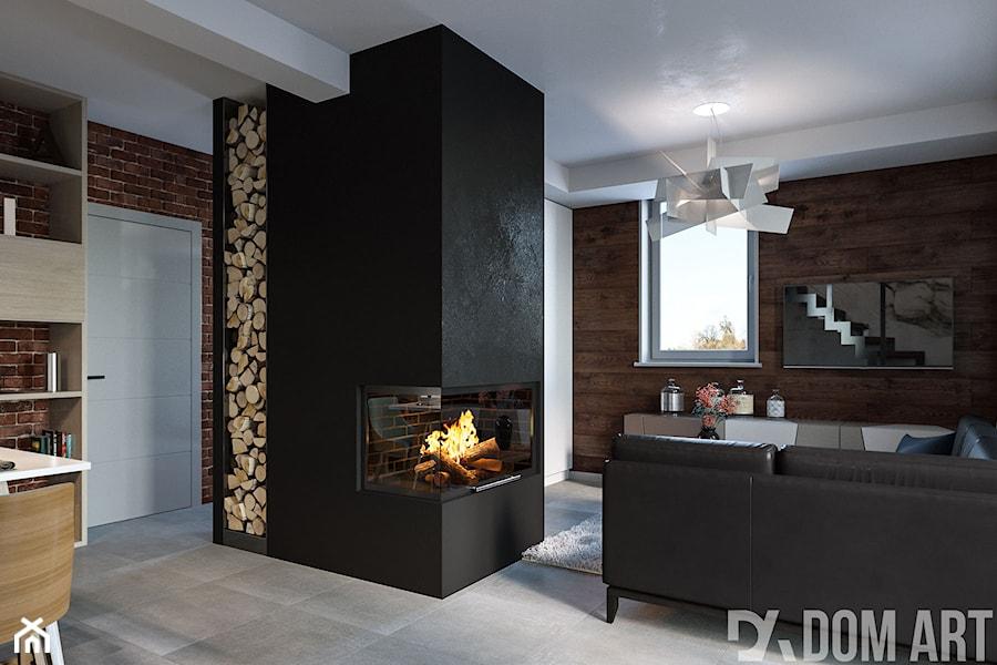 Dom w Katowicach - Mały czarny brązowy salon z jadalnią, styl skandynawski - zdjęcie od Dom-Art