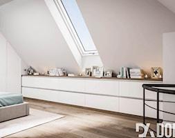 Mieszkanie na poddaszu w Olkusz - Średnia biała sypialnia dla gości na antresoli, styl skandynawski - zdjęcie od Dom-Art