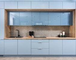 Skandynawskie Mieszkanie - Średnia otwarta szara kuchnia jednorzędowa, styl skandynawski - zdjęcie od Dom-Art - Homebook