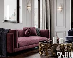 Męskie mieszkanie w eleganckim stylu - Średni szary salon z tarasem / balkonem, styl klasyczny - zdjęcie od Dom-Art