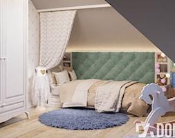 Mieszkanie na poddaszu w Olkusz - Średni szary beżowy zielony pokój dziecka dla dziewczynki dla malucha, styl eklektyczny - zdjęcie od Dom-Art