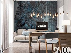 Eko-Dom w Świątnikach Górnych - Średnie czarne niebieskie szare biuro domowe kącik do pracy w pokoju, styl skandynawski - zdjęcie od Dom-Art