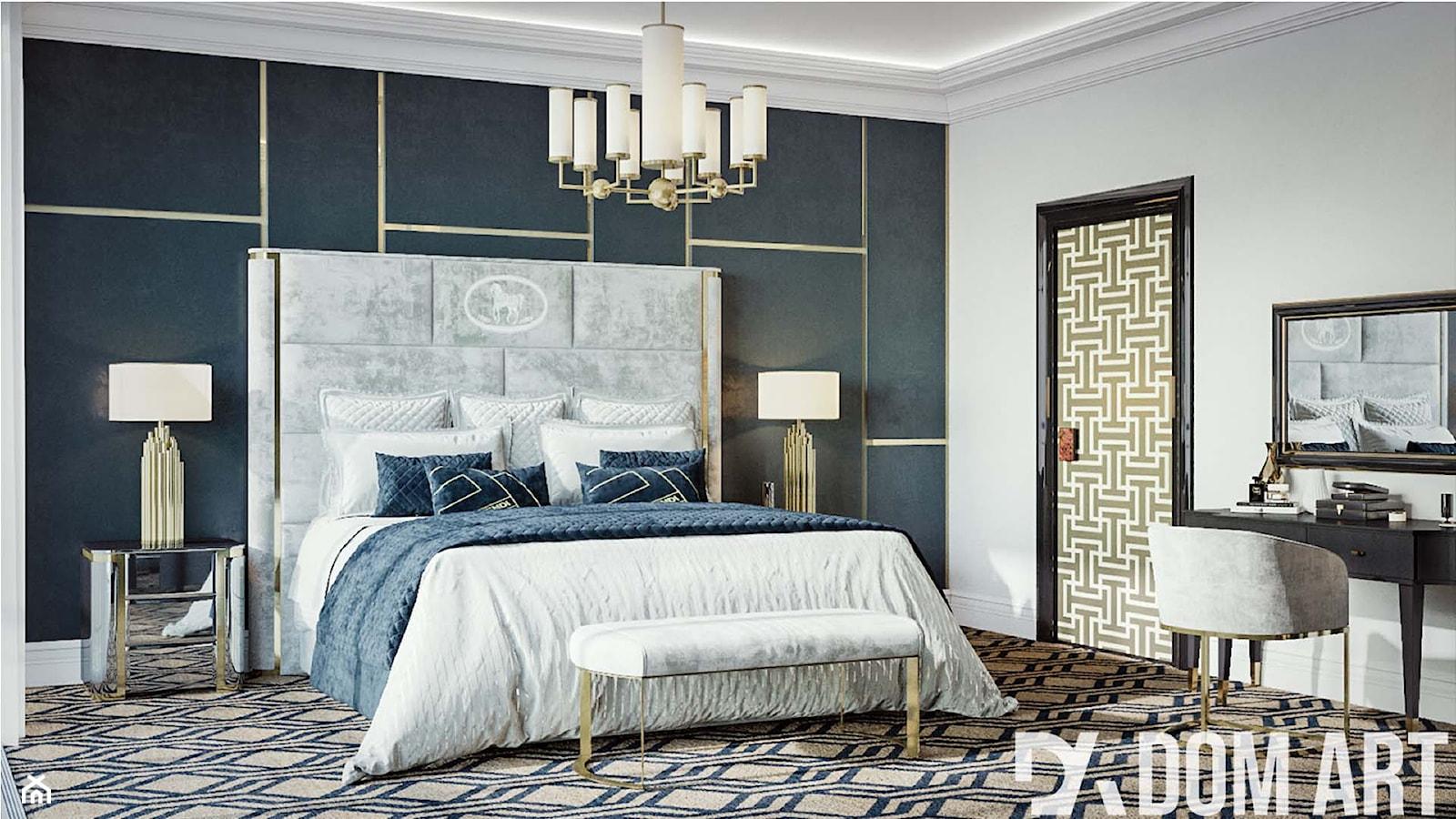 Apartament Art-Deco w Warszawie - Duża biała czarna sypialnia małżeńska, styl art deco - zdjęcie od Dom-Art - Homebook