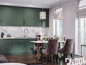 Mieszkanie w stylu Glamour - Duża otwarta biała kuchnia jednorzędowa w aneksie z oknem, styl glamour - zdjęcie od Dom-Art