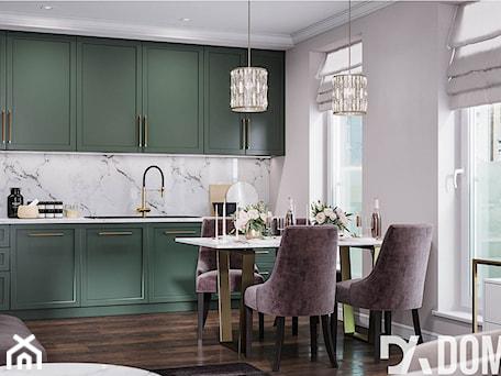 Aranżacje wnętrz - Kuchnia: Mieszkanie w stylu Glamour - Duża otwarta biała kuchnia jednorzędowa w aneksie z oknem, styl glamour - Dom-Art. Przeglądaj, dodawaj i zapisuj najlepsze zdjęcia, pomysły i inspiracje designerskie. W bazie mamy już prawie milion fotografii!