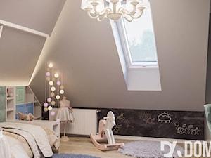 Mieszkanie na poddaszu w Olkusz - Średni szary pokój dziecka dla dziewczynki dla ucznia dla malucha dla nastolatka, styl rustykalny - zdjęcie od Dom-Art
