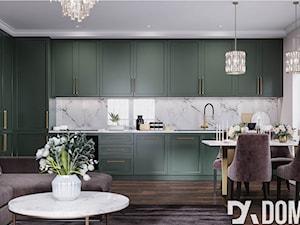 Mieszkanie w stylu Glamour - Średnia biała kuchnia jednorzędowa w aneksie z oknem, styl glamour - zdjęcie od Dom-Art