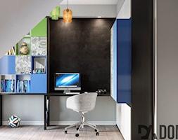 Mieszkanie na poddaszu w Olkusz - Mały szary czarny pokój dziecka dla chłopca dla dziewczynki dla ucznia dla nastolatka, styl nowoczesny - zdjęcie od Dom-Art
