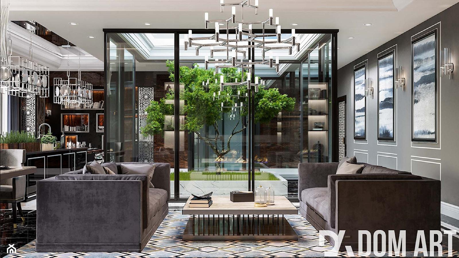 Apartament Art-Deco w Warszawie - Średni szary salon z kuchnią z jadalnią, styl art deco - zdjęcie od Dom-Art - Homebook