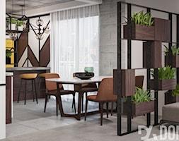 Nowoczesne mieszkanie W Krakowie - Średnia otwarta szara jadalnia w kuchni, styl industrialny - zdjęcie od Dom-Art
