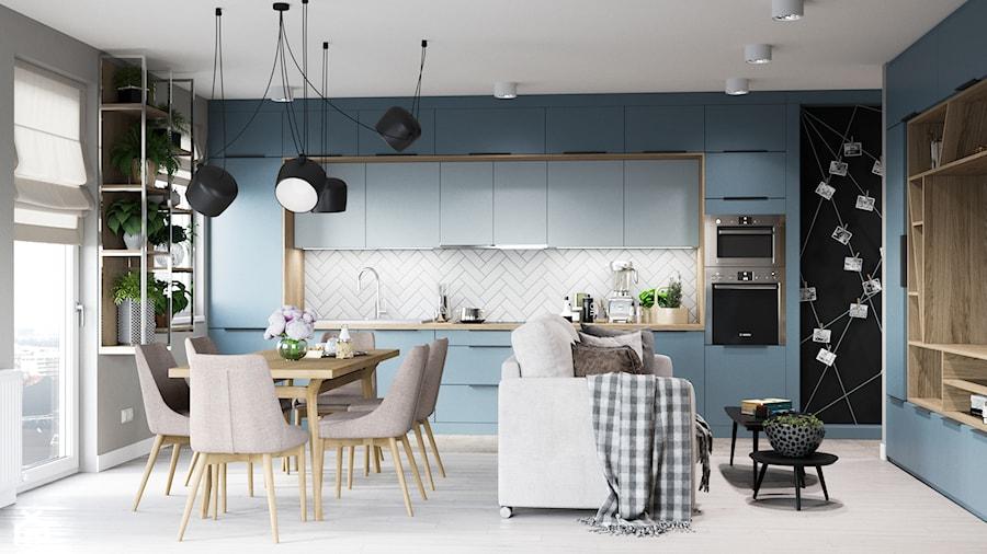 Skandynawskie mieszkanie w Krakowie - Duża otwarta szara niebieska kuchnia jednorzędowa w aneksie z oknem, styl skandynawski - zdjęcie od Dom-Art