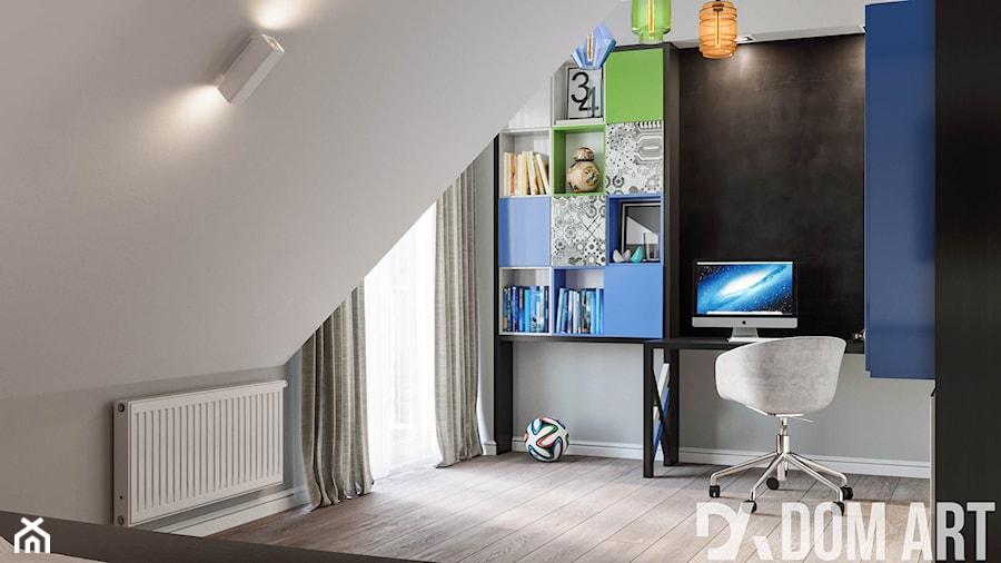 Mieszkanie na poddaszu w Olkusz - Średni szary pokój dziecka dla chłopca dla dziewczynki dla ucznia dla nastolatka, styl nowoczesny - zdjęcie od Dom-Art