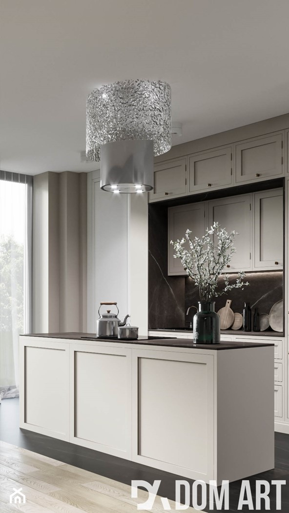 Eleganckie mieszkanie w Krakowie - Średnia otwarta szara czarna kuchnia jednorzędowa z wyspą z oknem - zdjęcie od Dom-Art - Homebook