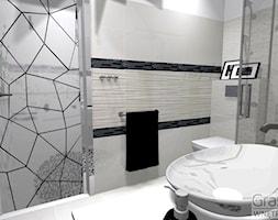 Czarno biała elegancja - Średnia łazienka w bloku w domu jednorodzinnym bez okna - zdjęcie od Grast&MTB