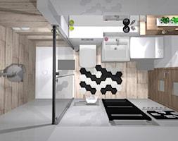 Łazienka na czasie - Mała biała beżowa łazienka w bloku bez okna, styl industrialny - zdjęcie od Grast&MTB
