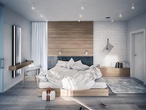 PROJEKT KOMPLEKSOWY DOMU JEDNORODZINNEGO - Duża biała sypialnia małżeńska, styl nowoczesny - zdjęcie od Kunkiewicz Architekci