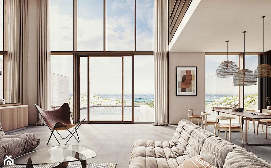 Trendbook MORE THAN TWENTY - Średni biały beżowy salon z jadalnią z tarasem / balkonem, styl eklektyczny - zdjęcie od Homebook.pl