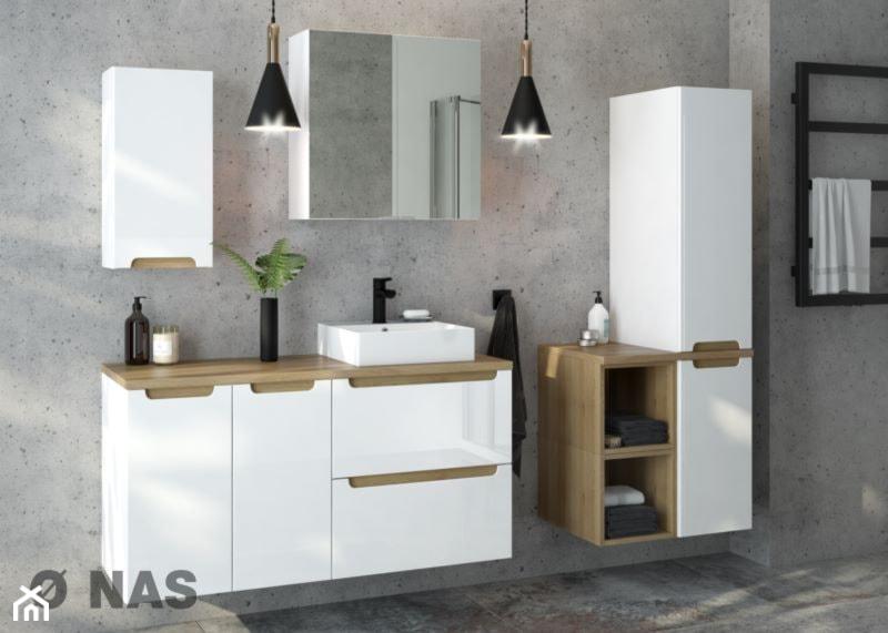 """Konkurs """"Diament Meblarstwa 2020"""" - Średnia szara łazienka w bloku w domu jednorodzinnym bez okna, styl nowoczesny - zdjęcie od Homebook.pl"""