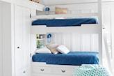 białe łóżko piętrowe, granatowe materace,
