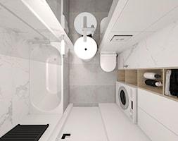 APARTAMENT TYPU STUDIO POD WYNAJEM KRÓTKOTERMINOWY WARSZAWA 2017 - Mała biała łazienka bez okna, styl nowoczesny - zdjęcie od INTERJO projektowanie wnętrz i grafiki