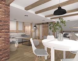 MIESZKANIE NA PODDASZU DARŁOWO 2019 - Średni szary salon z jadalnią, styl skandynawski - zdjęcie od INTERJO projektowanie wnętrz i grafiki