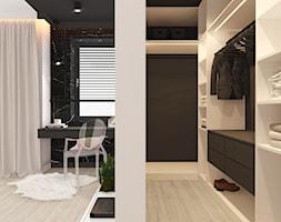DOM W ZABUDOWIE BLIŹNIACZEJ POD KOSZALINEM 2018 - Średnia otwarta garderoba przy sypialni, styl nowoczesny - zdjęcie od INTERJO projektowanie wnętrz i grafiki