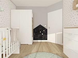 DOM W JAMNIE POD KOSZALINEM 2017 - Średni biały szary pokój dziecka dla chłopca dla dziewczynki dla niemowlaka, styl skandynawski - zdjęcie od INTERJO projektowanie wnętrz i grafiki