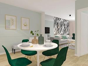 APARTAMENT POD WYNAJEM KRÓTKOTERMINOWY 2018 - Duża otwarta miętowa jadalnia jako osobne pomieszczenie, styl nowoczesny - zdjęcie od INTERJO Projektowanie Wnętrz