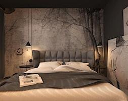 DOM JEDNORODZINNY ZŁOCIENIEC 2019 - Mała szara czarna sypialnia małżeńska, styl nowoczesny - zdjęcie od INTERJO projektowanie wnętrz i grafiki