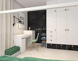 POKÓJ DZIECIĘCY I BAWIALNIA OKOLICE KOSZALINA 2019 - Średni biały czarny pokój dziecka dla chłopca dla dziewczynki dla ucznia dla nastolatka, styl nowoczesny - zdjęcie od INTERJO projektowanie wnętrz i grafiki