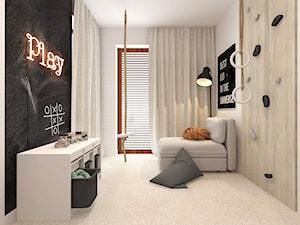 POKÓJ DZIECIĘCY I BAWIALNIA OKOLICE KOSZALINA 2019 - Duży biały czarny pokój dziecka dla chłopca dla dziewczynki dla nastolatka, styl nowoczesny - zdjęcie od INTERJO projektowanie wnętrz i grafiki