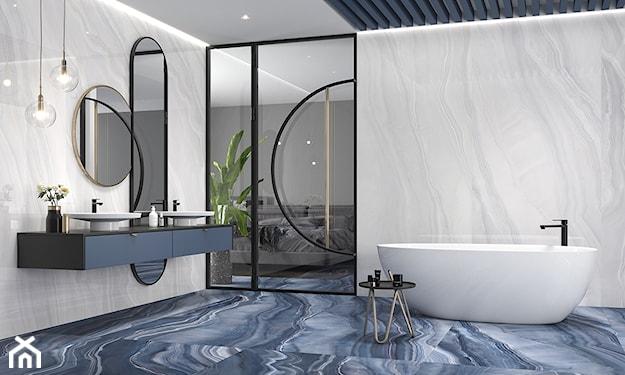 łazienka eklektyczna, niebieska łazienka, płytki wielkoformatowe