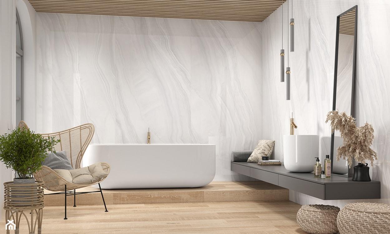 biała łazienka, płytki wielkoformatowe, płytki do łazienki