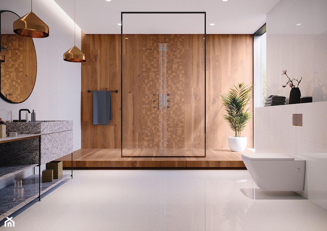 nowoczesna łazienka, łazienka z drewnem, drewno w łazience