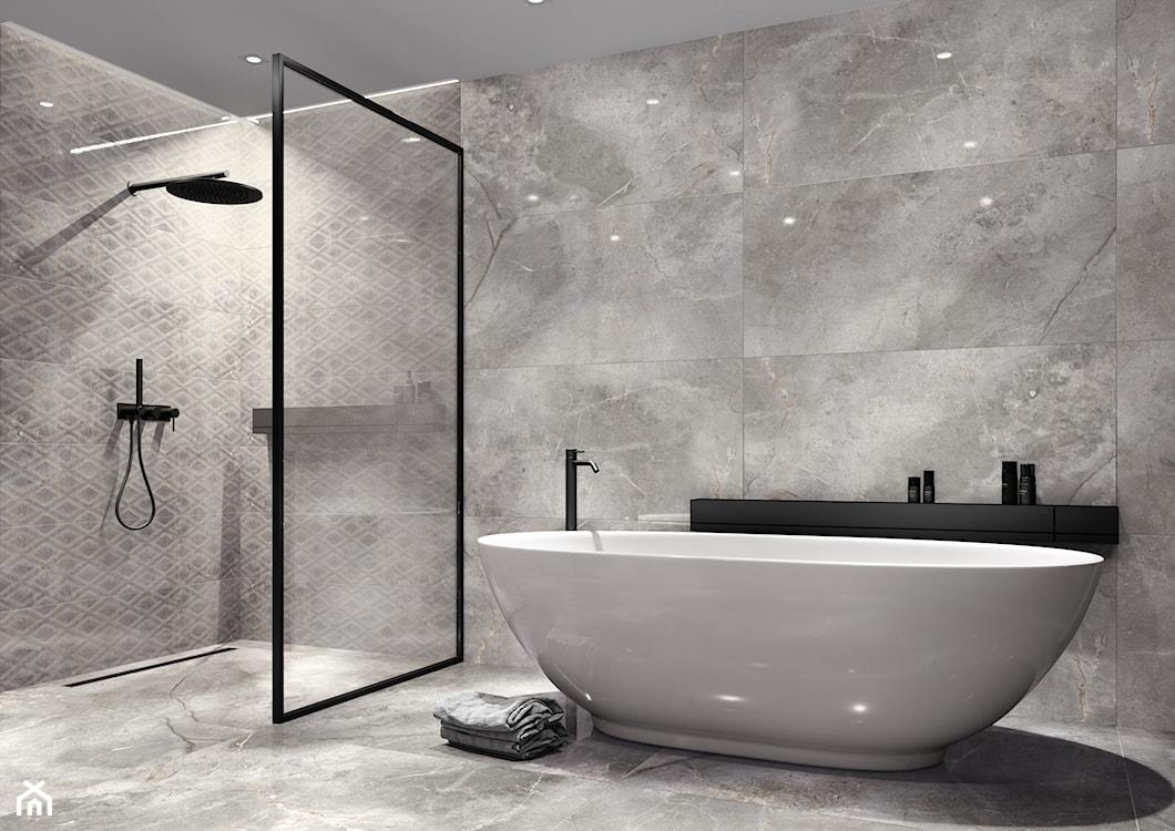 minimalistyczna łazienka, szara łazienka