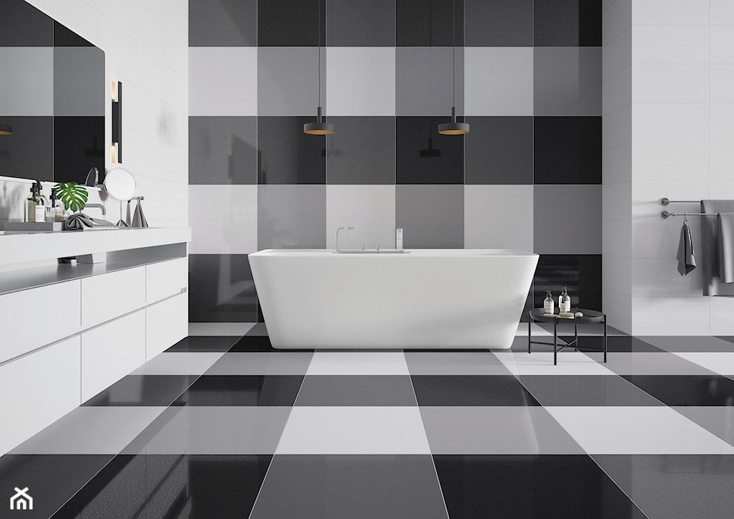 płytki ułożone w kratkę, wielkoformatowe płytki w łazience, płytki do dużej łazienki, oryginalne płytki do łazienki
