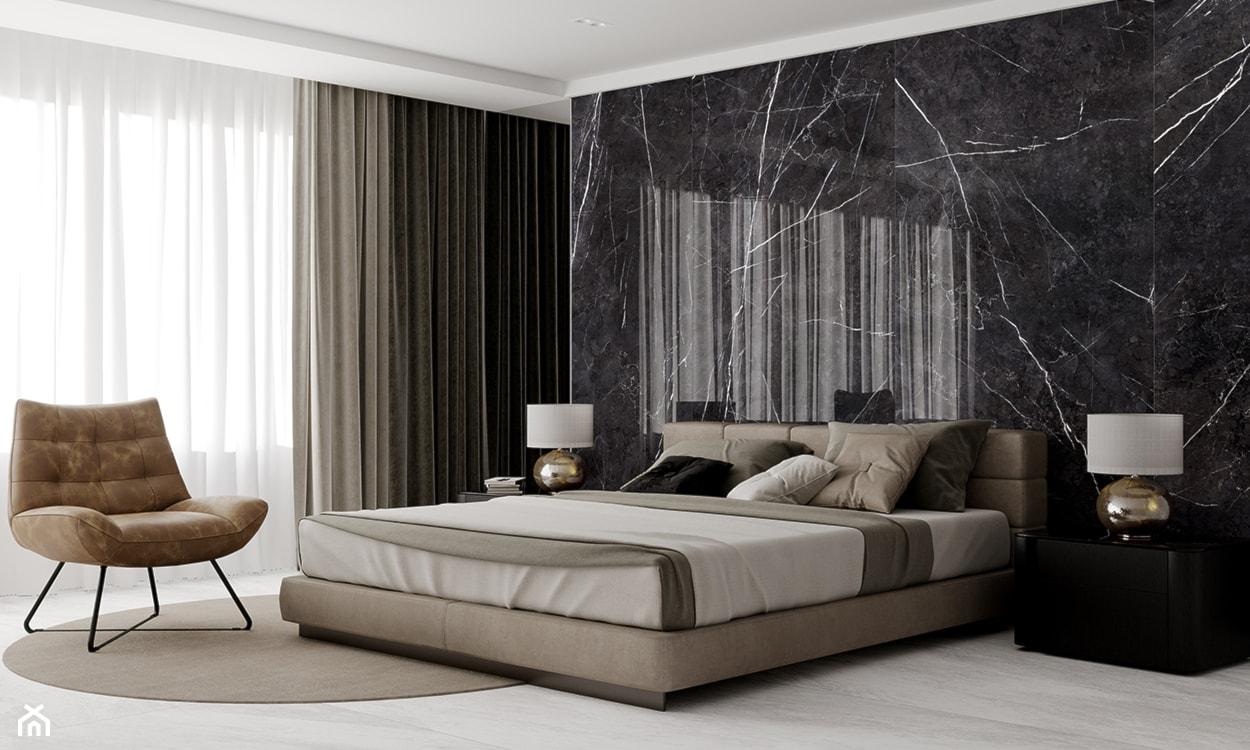 sypialnia elegancka. płytki wielkoformatowe, czarne płytki