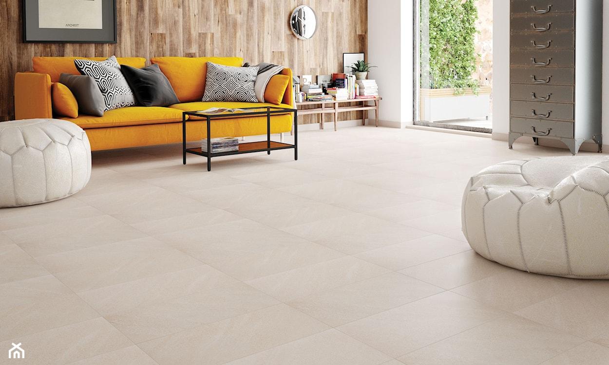 płytki gresowe imitujące beton w salonie