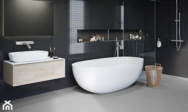 mozaika w łazience, biało-czarna łazienka, nowoczesna łazienka