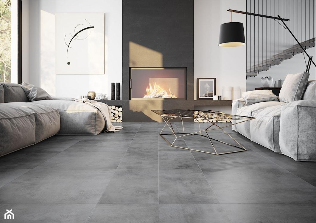 szara podłoga w salonie, szarość we wnętrzach, szary salon, szare płytki, płytki imitujące beton