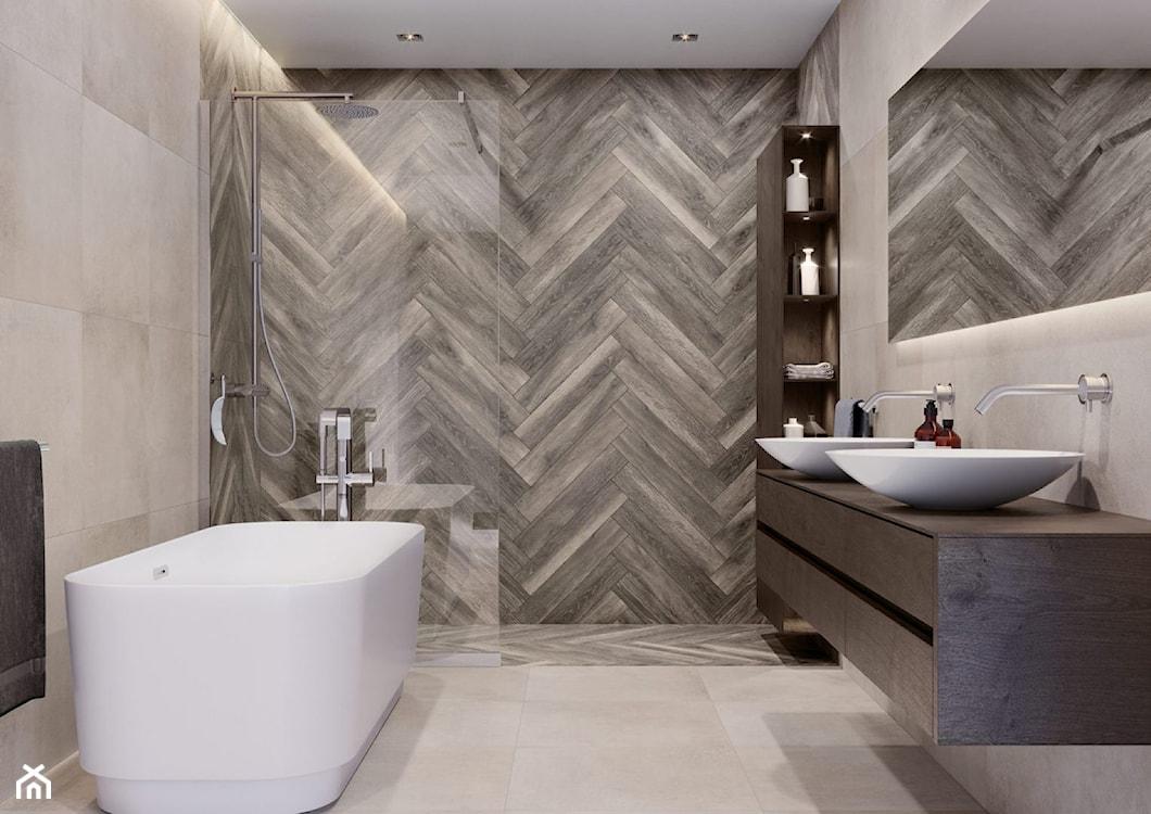 modna łazienka 2021, płytki drewnopodobne na ścianie