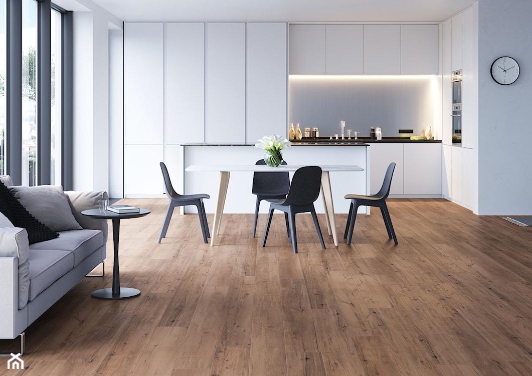 kuchnia w stylu minimalistycznym, płytki gresowe imitujące stare drewno