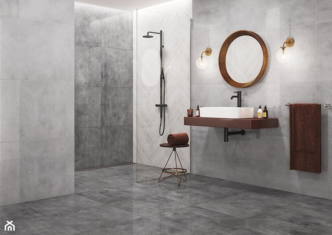 szara łazienka, imitacja betonu w łazience, duże płytki w łazience