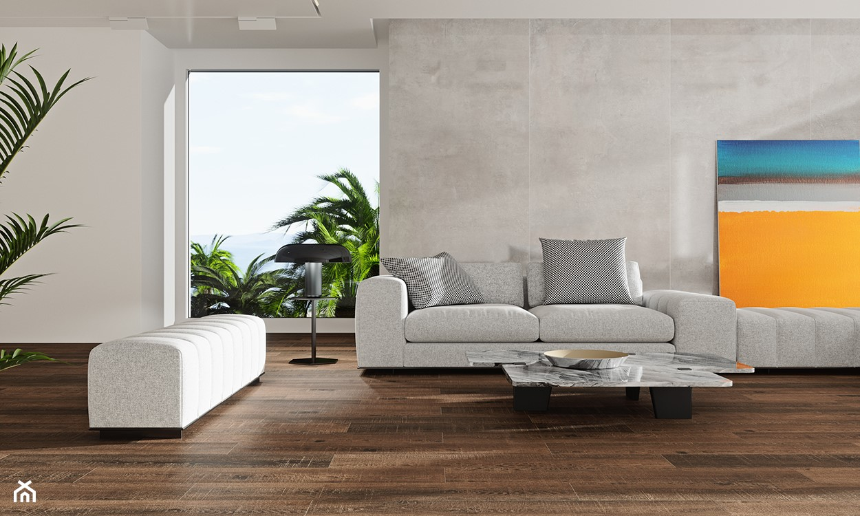 minimalistyczny salon, szary salon, beton na ścianie