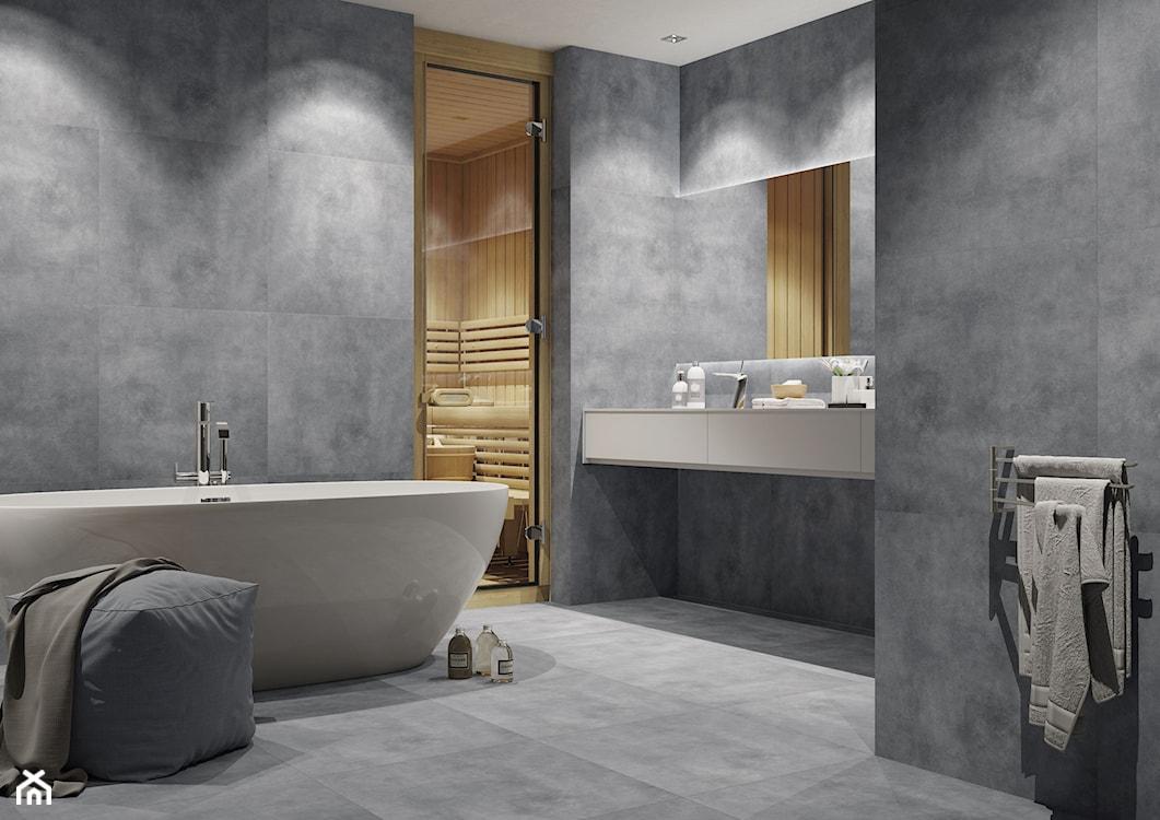 sauna, sauna w łazience, szara łazienka, szare płytki w łazience, płytki imitujące beton