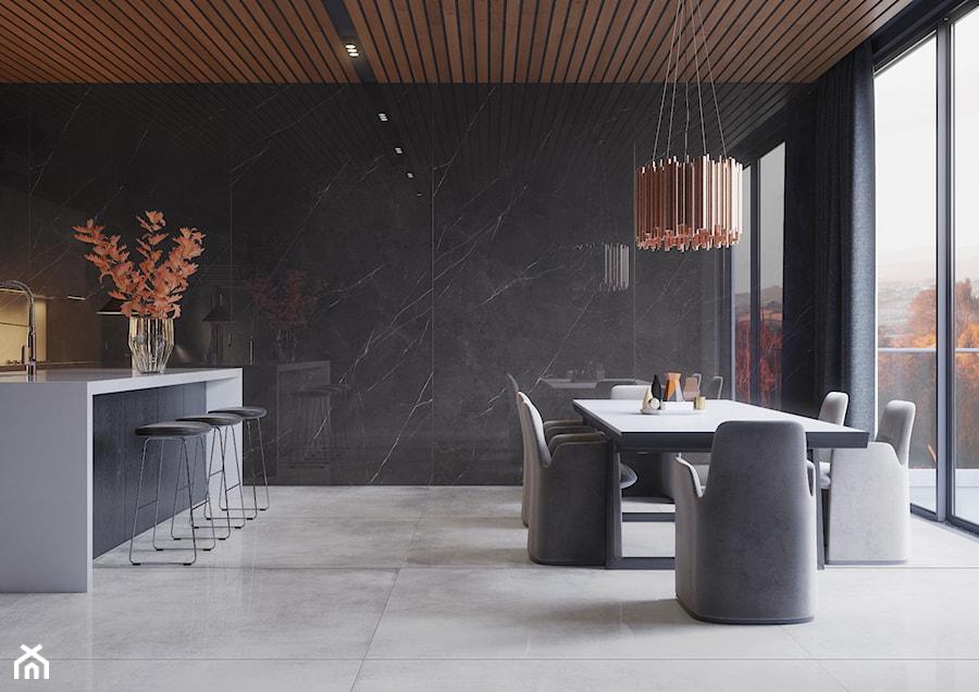 Kolekcja Concrete - Średnia otwarta czarna kuchnia dwurzędowa w aneksie, styl minimalistyczny - zdjęcie od Cerrad