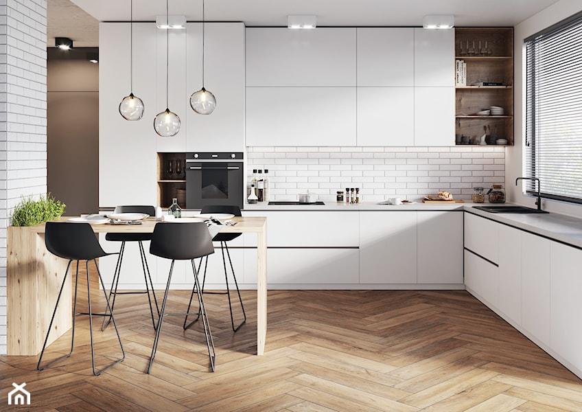 jodełka z płytek imitujących drewno w kuchni