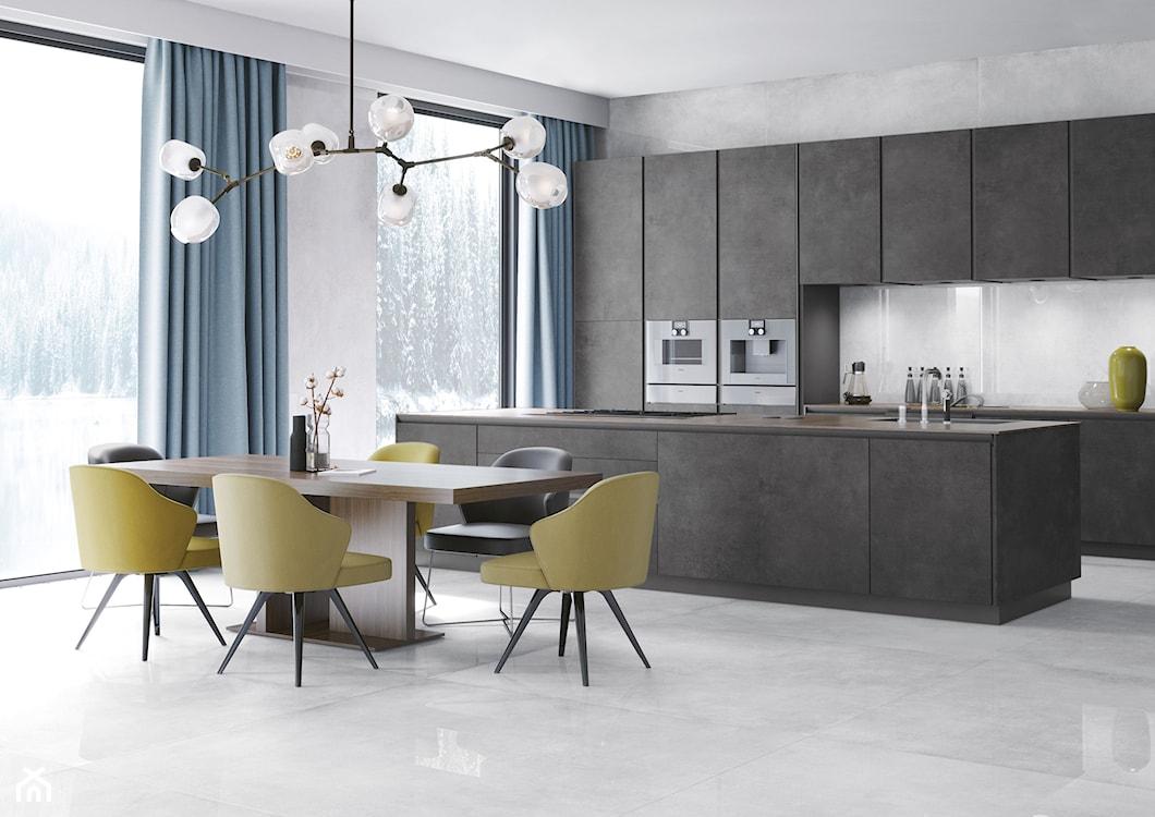 Płytki wielkoformatowe, płytki wielkoformatowe jak beton, meble kuchenne jak z betonu