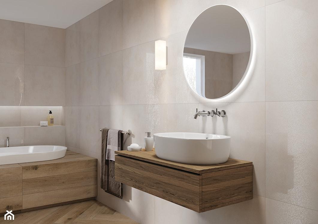 duże płytki w łazience, drewno w łazience