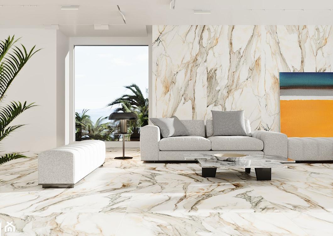 nowoczesny salon, marmur w salonie, płytki wielkoformatowe
